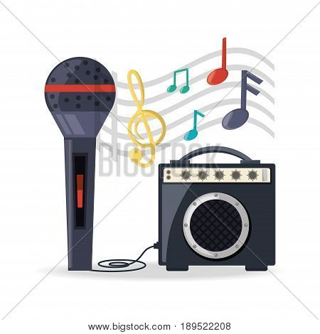 microphone with amplifier speaker music vector illustration
