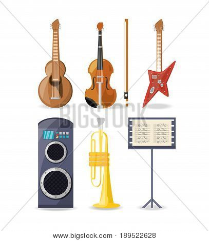 set icon music instruments amplifier and music sheet vector illustration