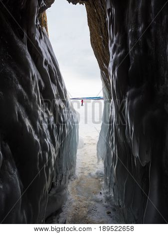 Ice covered the wall of ice cave in Frozen Baikal Russia