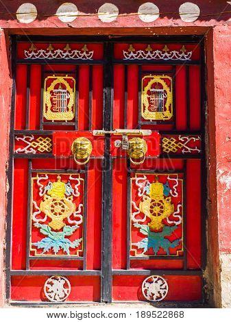 Traditional tibetan style doors in Sichuan China