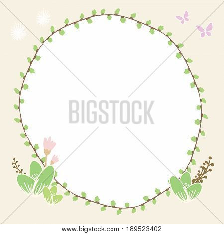 Drawing illustration circle plant border with butterfly and floral