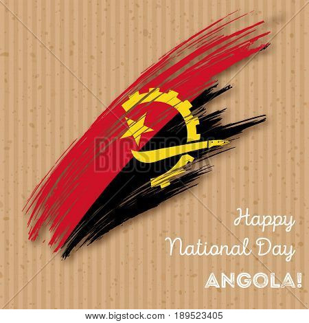 Angola Independence Day Patriotic Design. Expressive Brush Stroke In National Flag Colors On Kraft P
