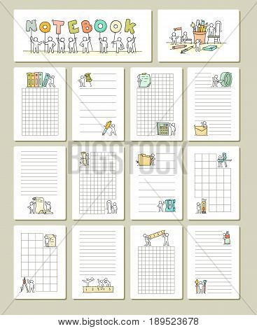 Collection of cute blocks for cards notes stickers tags with people. Template for wrapping notebooks diary school accessories. Doodle hand-drawn vector illustration with stationery for kids.