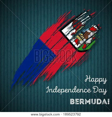 Bermuda Independence Day Patriotic Design. Expressive Brush Stroke In National Flag Colors On Dark S