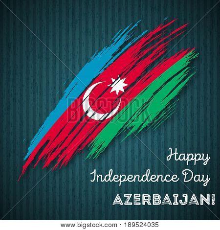 Azerbaijan Independence Day Patriotic Design. Expressive Brush Stroke In National Flag Colors On Dar