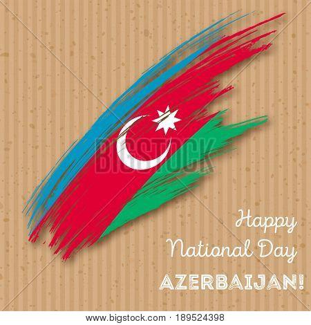 Azerbaijan Independence Day Patriotic Design. Expressive Brush Stroke In National Flag Colors On Kra