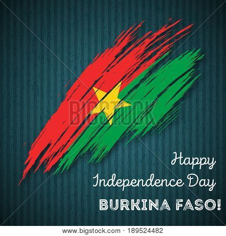 Burkina Faso Independence Day Patriotic Design. Expressive Brush Stroke In National Flag Colors On D