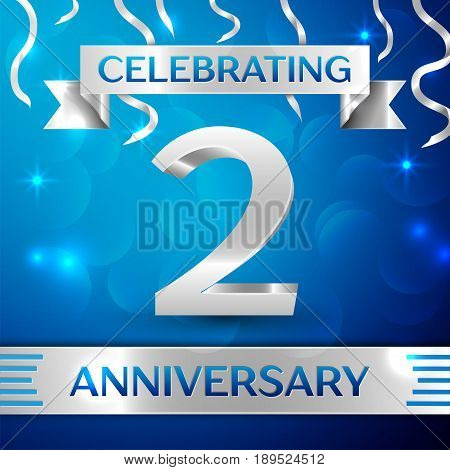 Two Years Anniversary Celebration Design. Confetti and silver ribbon on blue background. Colorful Vector template elements for your birthday party. Anniversary ribbon