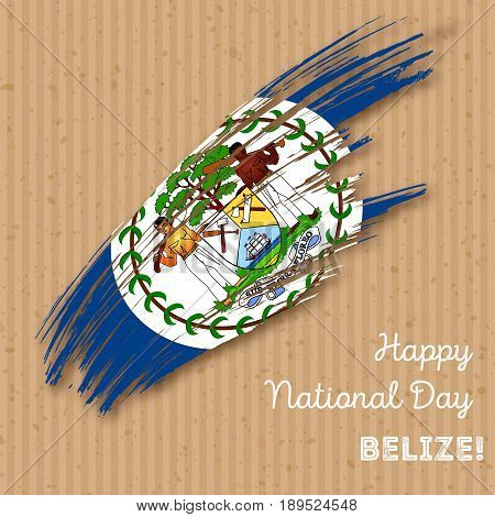 Belize Independence Day Patriotic Design. Expressive Brush Stroke In National Flag Colors On Kraft P