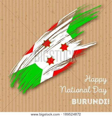 Burundi Independence Day Patriotic Design. Expressive Brush Stroke In National Flag Colors On Kraft