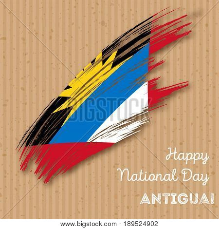 Antigua Independence Day Patriotic Design. Expressive Brush Stroke In National Flag Colors On Kraft
