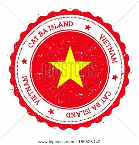 Cat Ba Island Flag Badge. Vintage Travel Stamp With Circular Text, Stars And Island Flag Inside It.