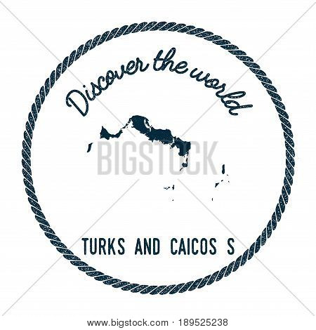 Turks and Caicos Islands map in vintage discover the world insignia. Hipster style nautical postage stamp with round rope border. Vector illustration. poster