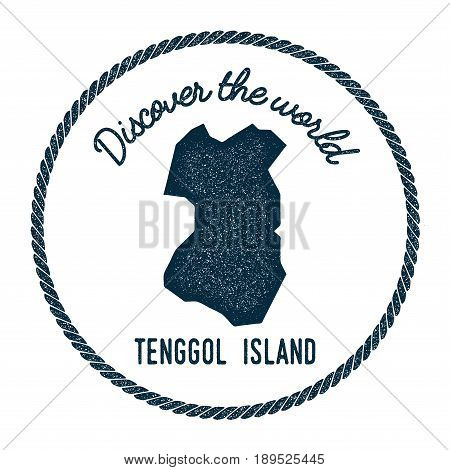 Tenggol Island Map In Vintage Discover The World Insignia. Hipster Style Nautical Postage Stamp, Wit