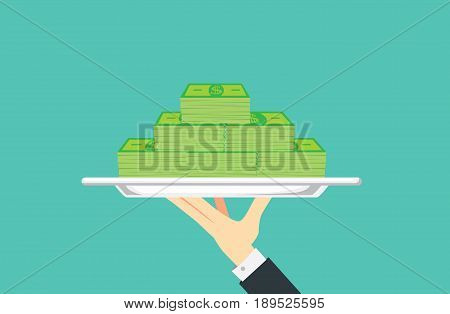 Hand holding silver tray which have many banknote paste in it. Illustration about financial with catering concept.