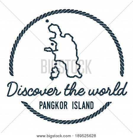 Pangkor Island Map Outline. Vintage Discover The World Rubber Stamp With Island Map. Hipster Style N