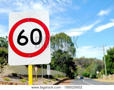 Speed limit sign in small town in Australia