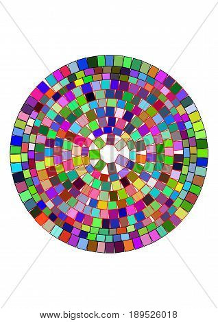 A circle filled with geometric shapes mosaic effect brilliance and cut of the gemstone. Vector illustration
