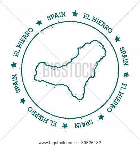 El Hierro Vector Map. Distressed Travel Stamp With Text Wrapped Around A Circle And Stars. Island St