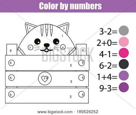 Coloring page with cute cat character. Color by numbers educational children game drawing kids activity printable sheet. Math game. Learning mathematics algebra addittion and subtraction