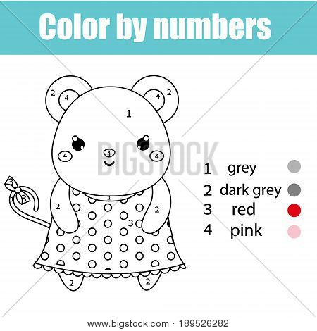 Coloring page with cute mouse character. Color by numbers educational children game drawing kids activity printable sheet