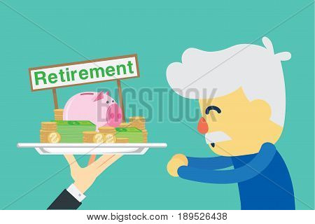 Senior employee happy with get retirement money. Illustration about saving money.