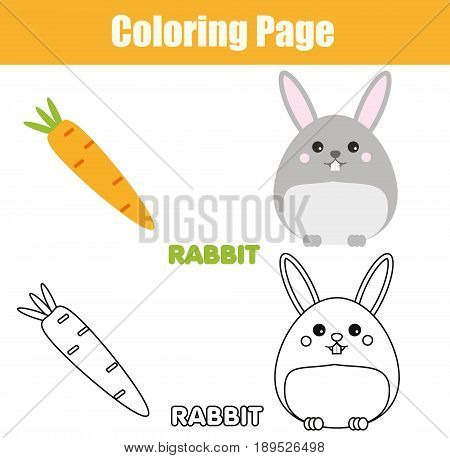 Coloring page with rabbit bunny character. Color the picture drawing activity. Educational game for pre school aged kids animals theme. Printable kids activity