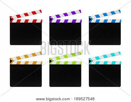 Colorful film clapperboards isolated on white background