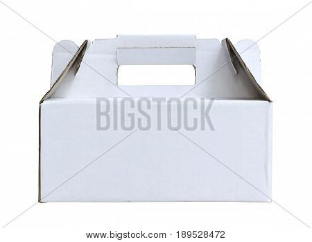 Paper box with handle isolated on white background