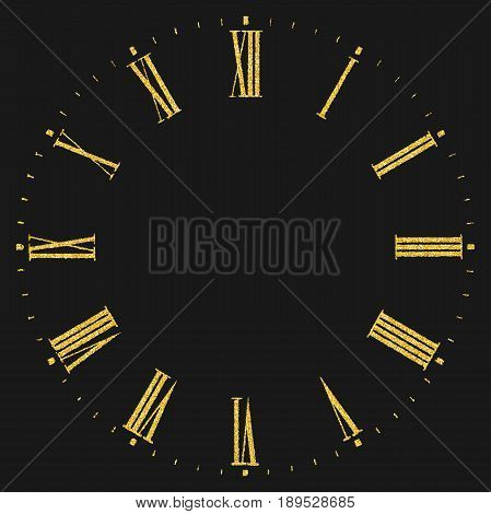 Vintage dial. Gold glitter roman numeral clock on black background.