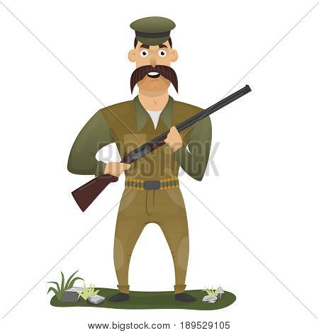 Happy Hunter with gun on a white background, vector illustration