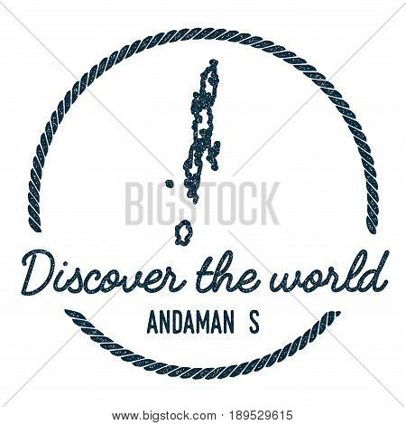 Andaman Islands Map Outline. Vintage Discover The World Rubber Stamp With Island Map. Hipster Style
