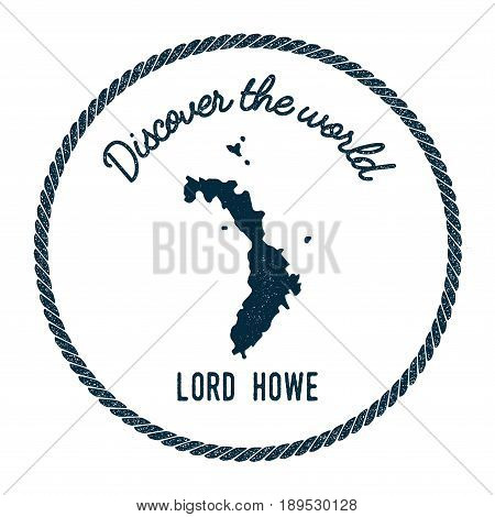 Lord Howe Island Map In Vintage Discover The World Insignia. Hipster Style Nautical Postage Stamp, W
