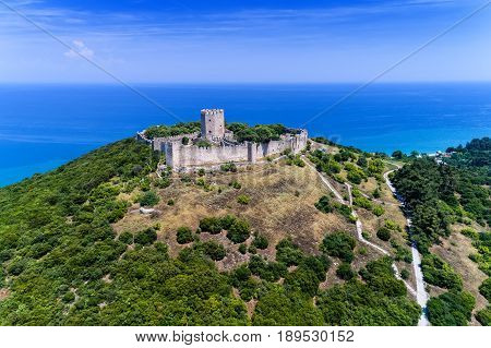Aerial View Of The Castle Of Platamon, Pieria, Macedonia, Greece