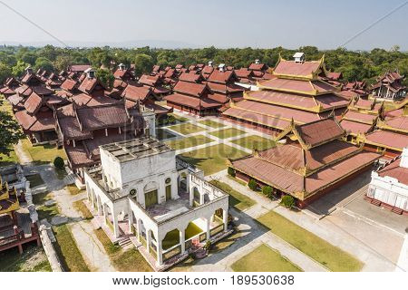 Replica of Mandalay Royal Palace build in 1990s. Original palace was destroyed in WWII. Mandalay, Myanmar.