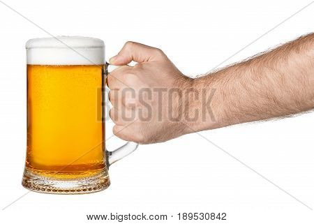 hand with mug of beer isolated on white background. Male hand holding mug of light beer toasting. Hand making toast