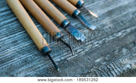 Tool On Wood Background In The Workshop Of Woodcarver