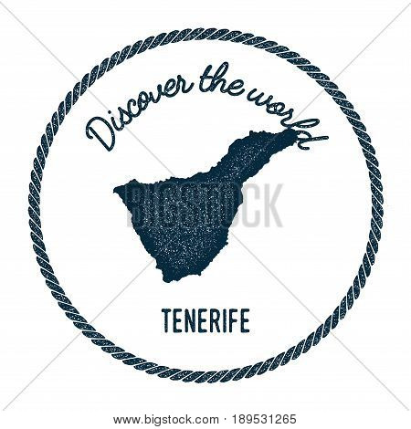 Tenerife Map In Vintage Discover The World Insignia. Hipster Style Nautical Postage Stamp, With Roun