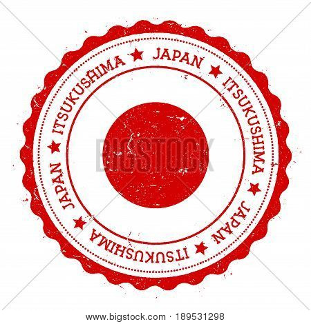 Itsukushima Flag Badge. Vintage Travel Stamp With Circular Text, Stars And Island Flag Inside It. Ve