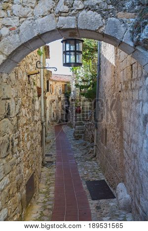 Alley in Eze near Monaco and Nice in France
