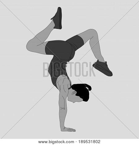 silhouette of girl doing gymnastics sports gymnastics fully editable vector image