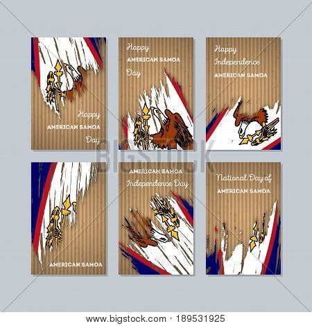 American Samoa Patriotic Cards For National Day. Expressive Brush Stroke In National Flag Colors On