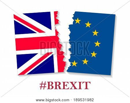 Brexit hashtag two parts of flags, metadata tag for social network and microblogging, British exit decision. Vector flat style illustration on white background