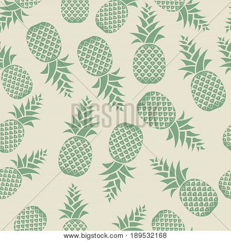 Seamless texture pineapples pineapple painted green on a gray background background for printing on fabric ,fully editable vector image