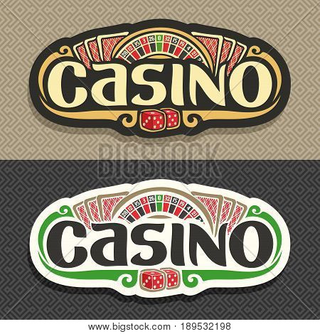 Vector logo for Casino club on geometric background: roulette wheel, lettering title - casino, 3 playing card with red back for blackjack, pair dice for craps, gambling sign board for online casino.