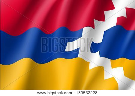 Waving flag of Nagorno-Karabakh state. Patriotic national sign of Nagorno Karabakh. Official symbol of unrecognised republic in the South Caucasus. Vector icon illustration