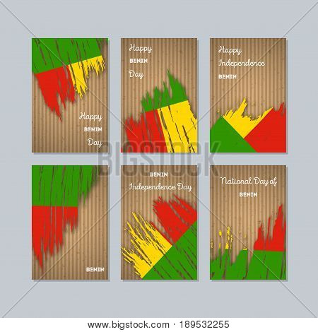 Benin Patriotic Cards For National Day. Expressive Brush Stroke In National Flag Colors On Kraft Pap