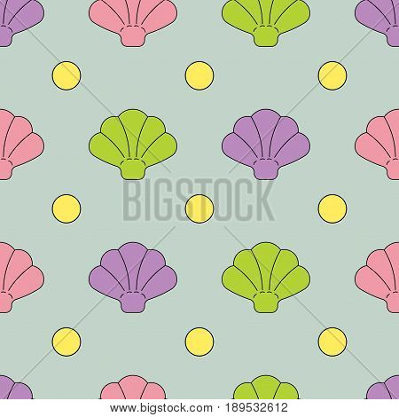 Seamless texture shell beach shell painted in blue purple yellow on a gray background background for printing on fabric, fully editable vector image