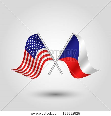vector two crossed american and czech flags on silver sticks - symbol united states of america and czech republic