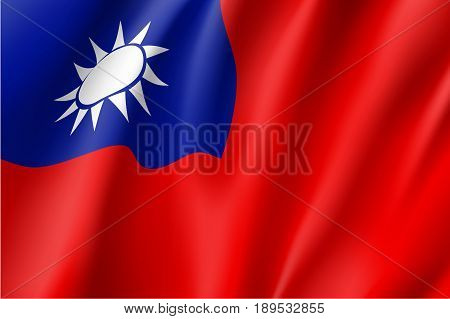 Waving flag of Taiwan - officially is territory of the Republic of China. Patriotic taiwanese national sign. Symbol of East Asia state. Vector icon illustration